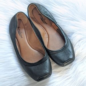 Lucky Brand Black Leather Ballet Flats Size 7